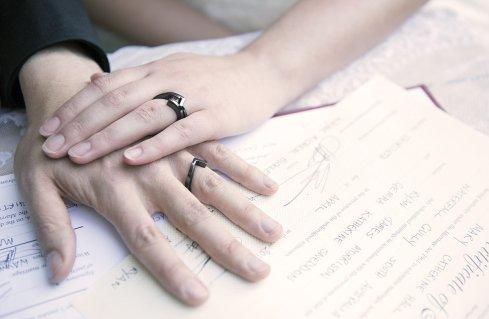 Wedding rings on certificate