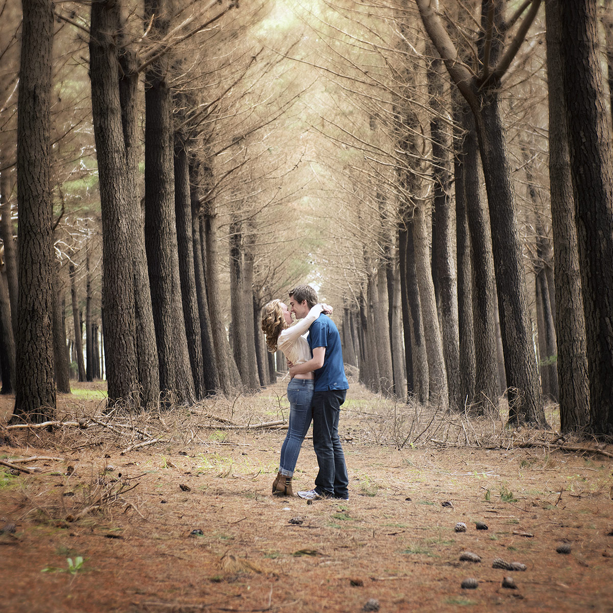 Couples shoot in forest