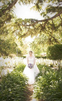 Bride walking the gardens
