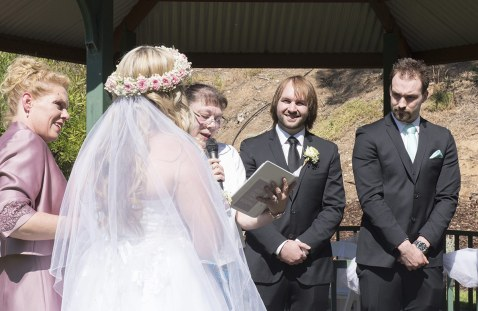 Groom seeing bride