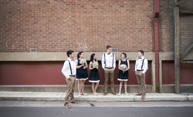 Bridal party standing about