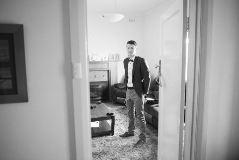 Groom through doorway