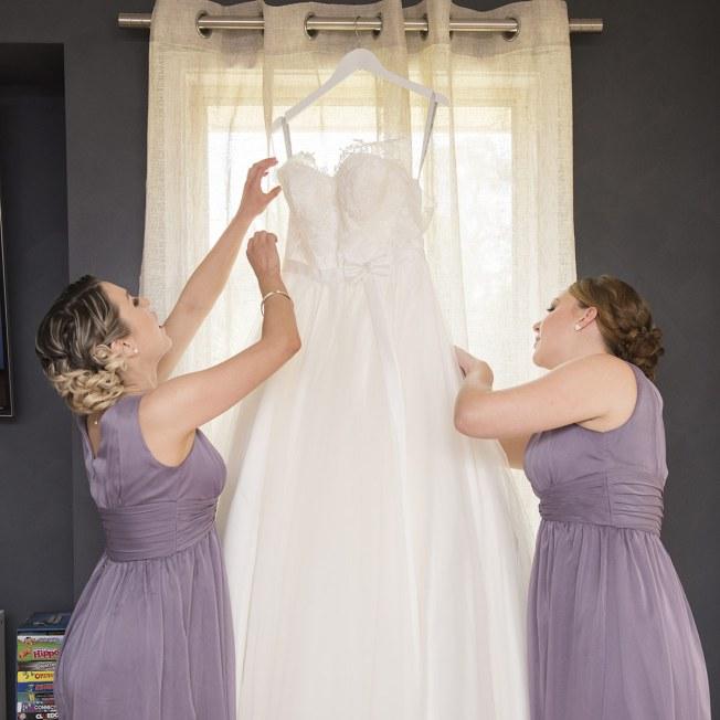 Taking down wedding dress