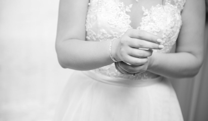 Putting on bracelet