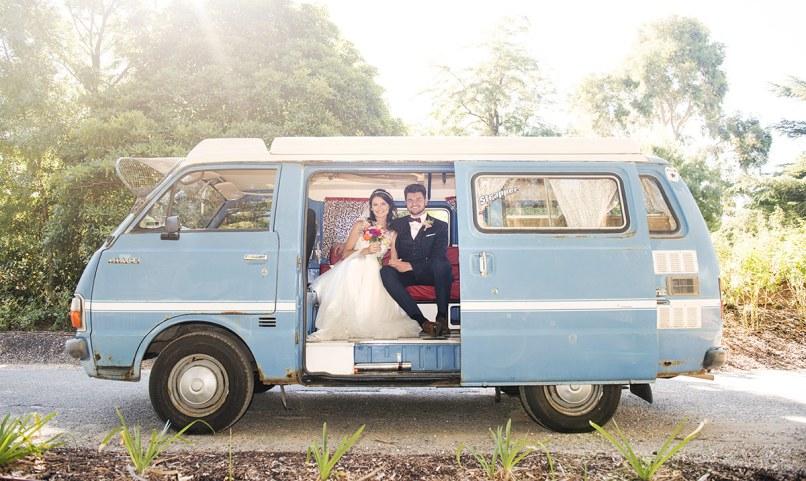 Bus wedding photo