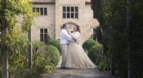 Bride and Groom in front of Carrick Hill