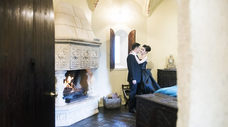 Couple next to the fire