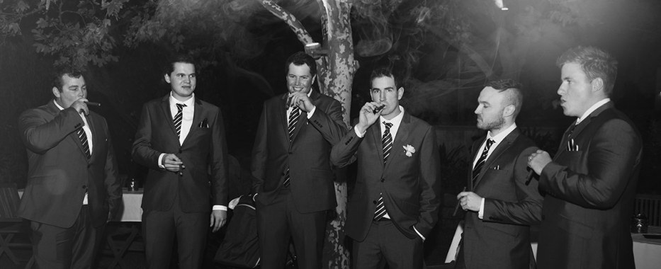 Groomsmen smoking
