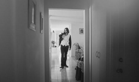 Walking towards the door