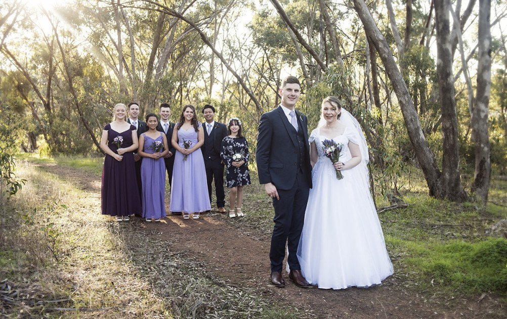 Formal shot of the wedding party