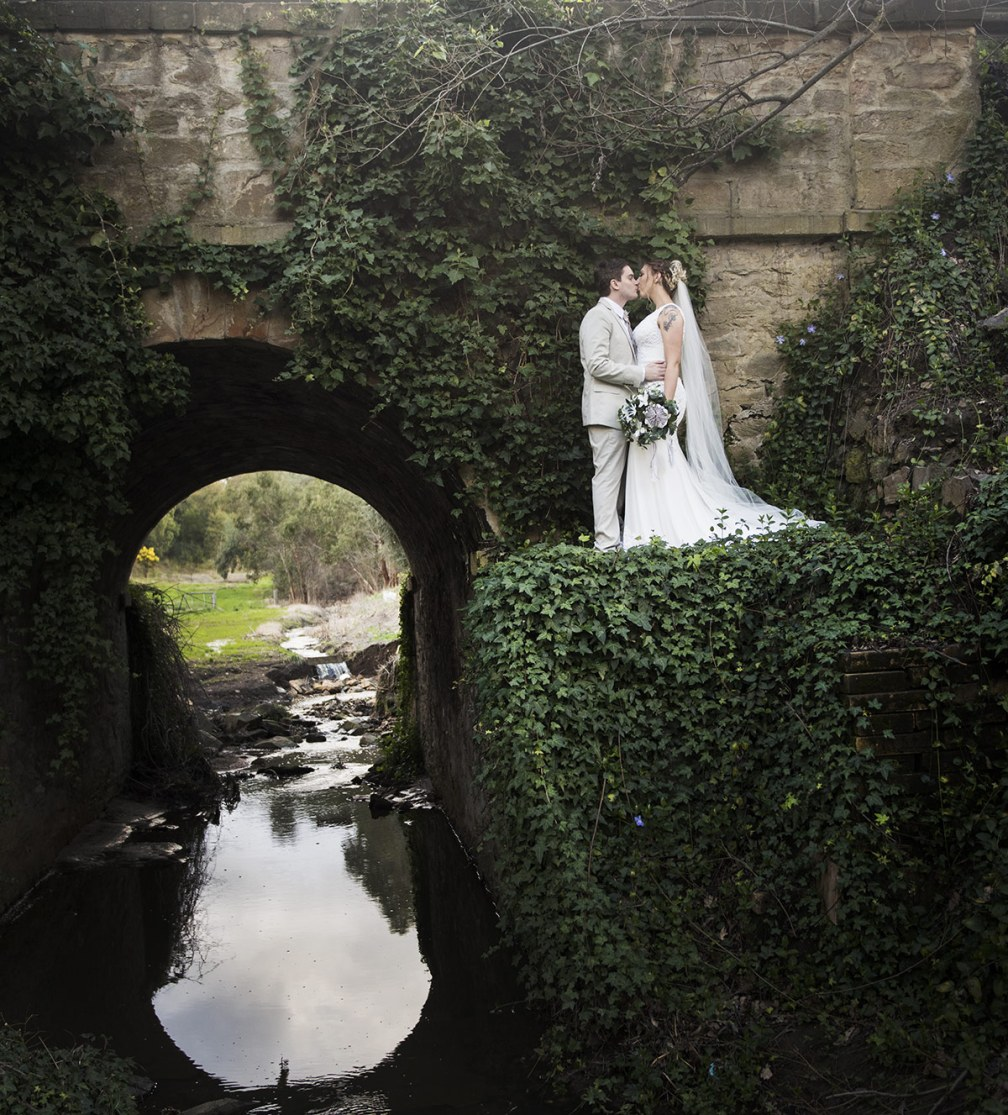 Garden bridge wedding photo
