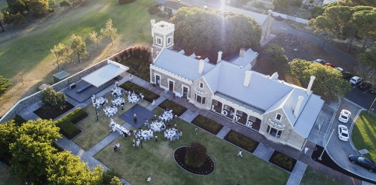 Drone shot of Glanville Hall