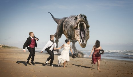 Running from dinosaur