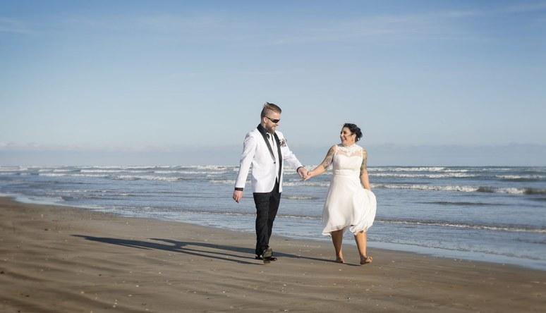 Walking together on Middleton beach