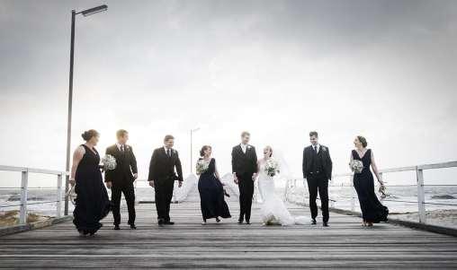 Bridal party walking together