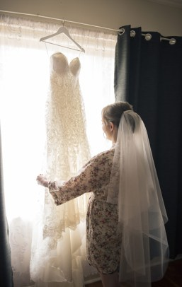 Preparing wedding dress
