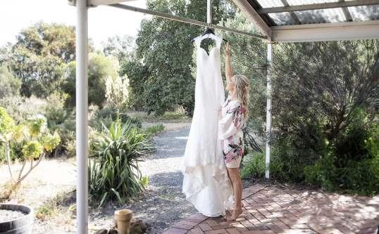 Hanging the wedding dress