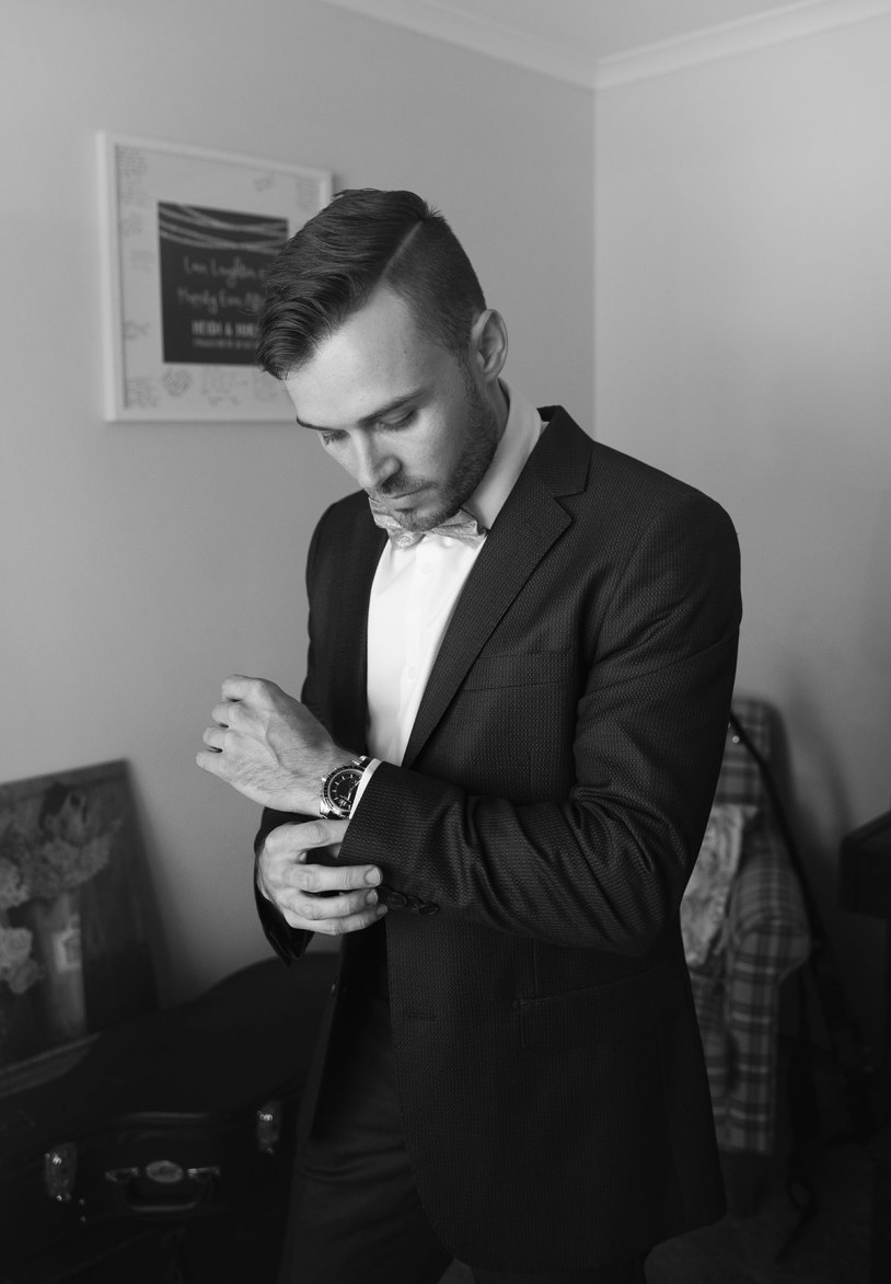 Putting on suit
