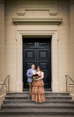 In front of door
