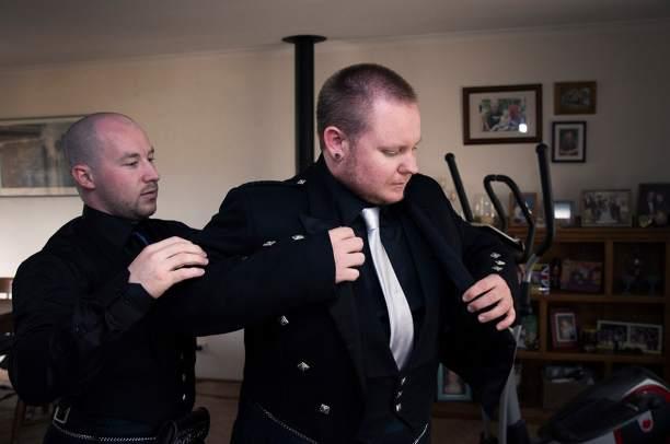 Putting on jacket