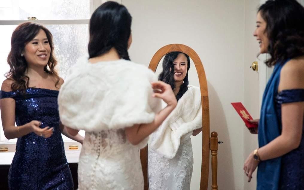Bridesmaids helping