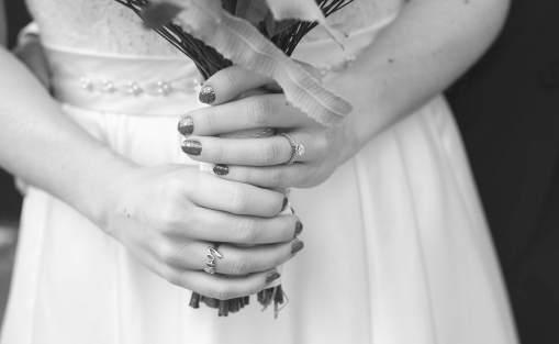 Holding bouquet