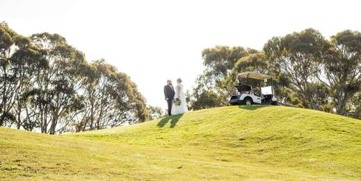 bride and groom together on the Mt Osmond Golf course