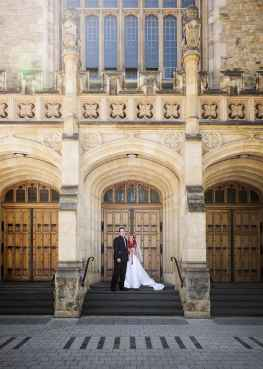 wedding couple out the front of Bonython Hall