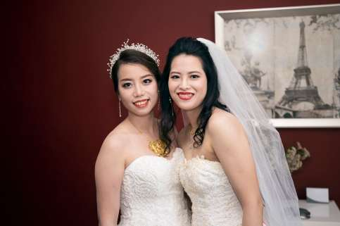 Emily and Angel before their ceremony