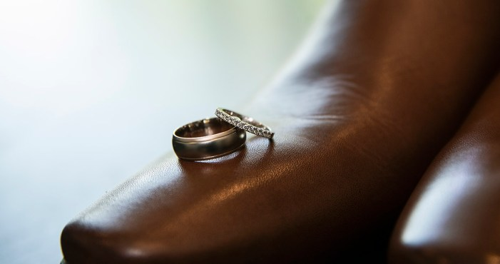 Wedding rings on shoe