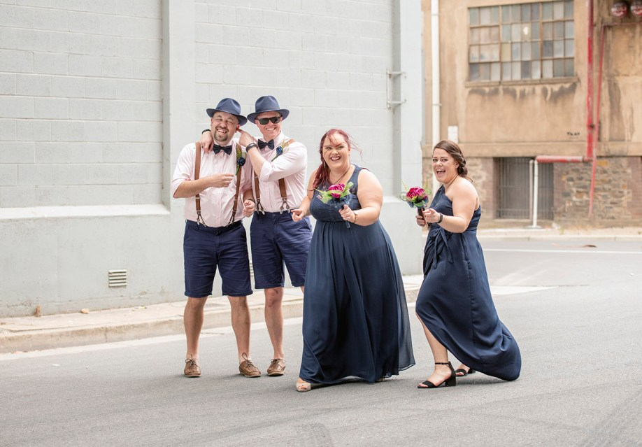 Bridal party chilling in Port Adelaide