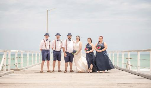 Bridal party on top of Semaphore Jetty