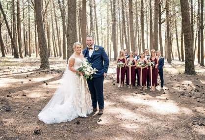 Bridal party standing in Kuitpo forest