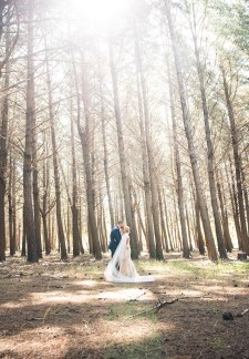 Bride and groom in burbrook forest