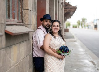 Bride and groom on crozier st