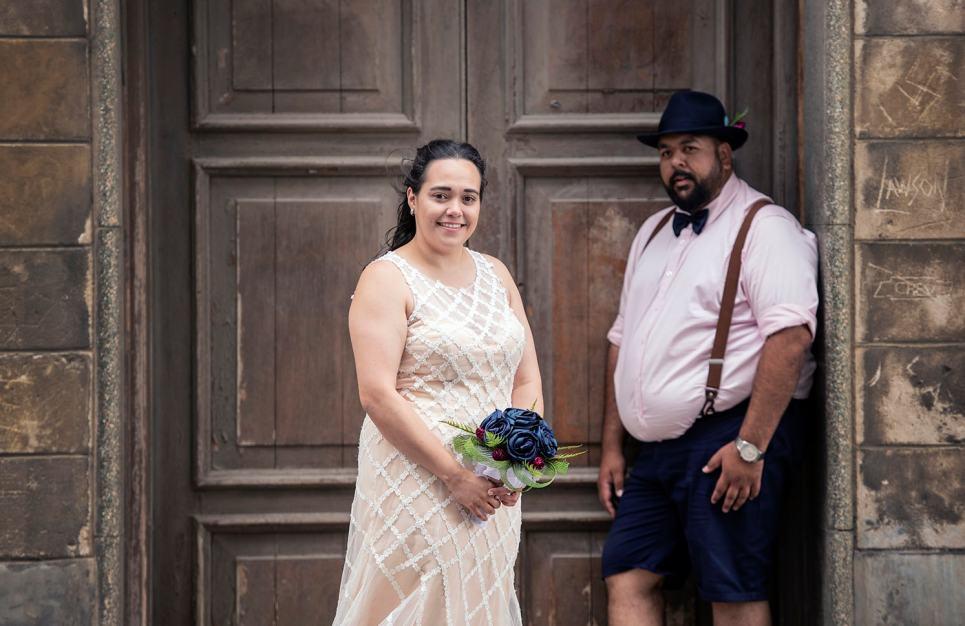 Bride standing in front of doorway