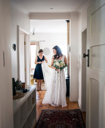 Bride about to leave for wedding ceremony