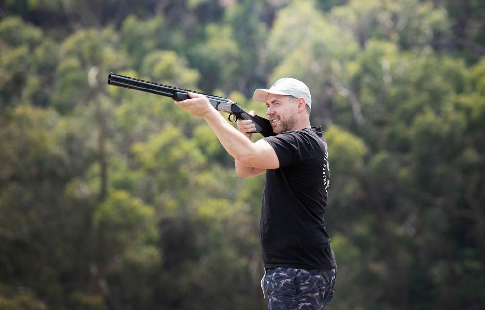 Groom shooting before his wedding