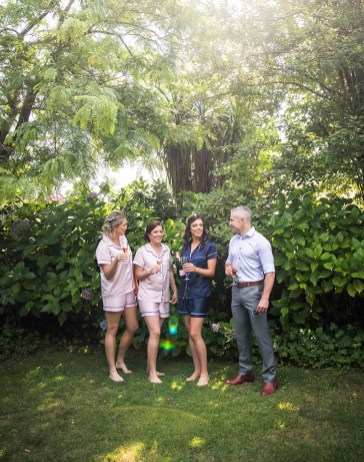 group having a chat in the garden