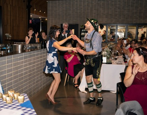 Guests joining in on the German dancing