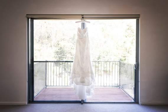 hanging wedding dress