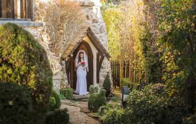Bridal approach at her Thorngrove Manor wedding