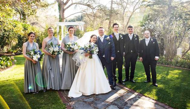 Bridal party in the gardens