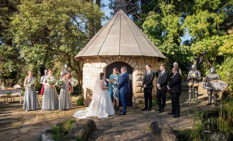 Wedding ceremony in front of the chapel