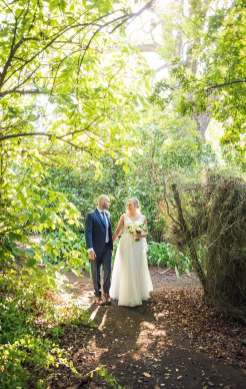Sun shining on the bride and groom