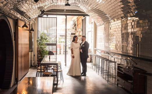 Peel st wedding photo in archway