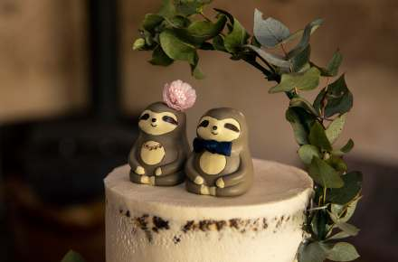 Sloth wedding cake toppers
