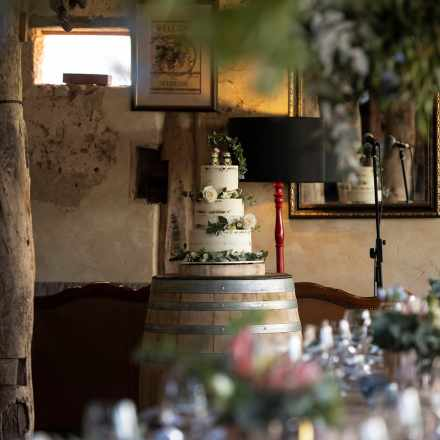 Wedding cake on display at Ivybrook Farm