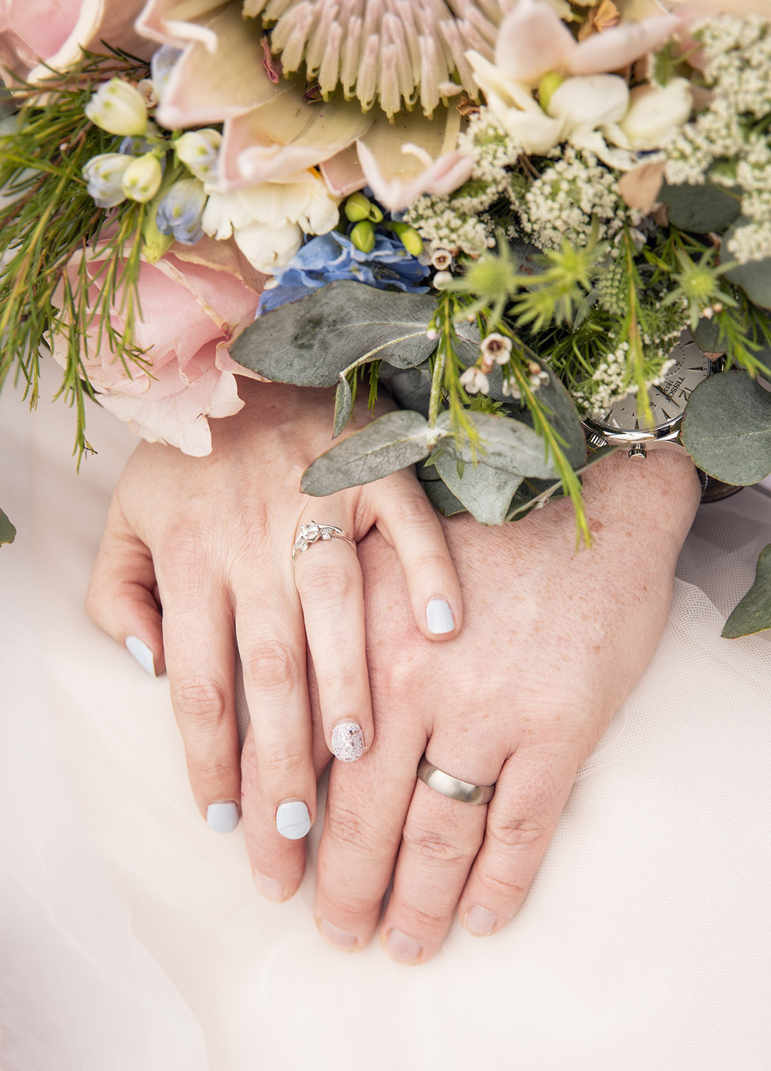 Wedding rings on hands close