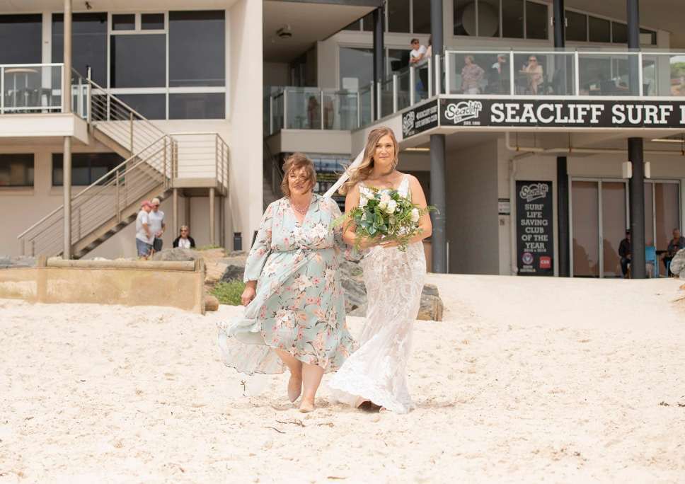 Bride and Mum approaching ceremony